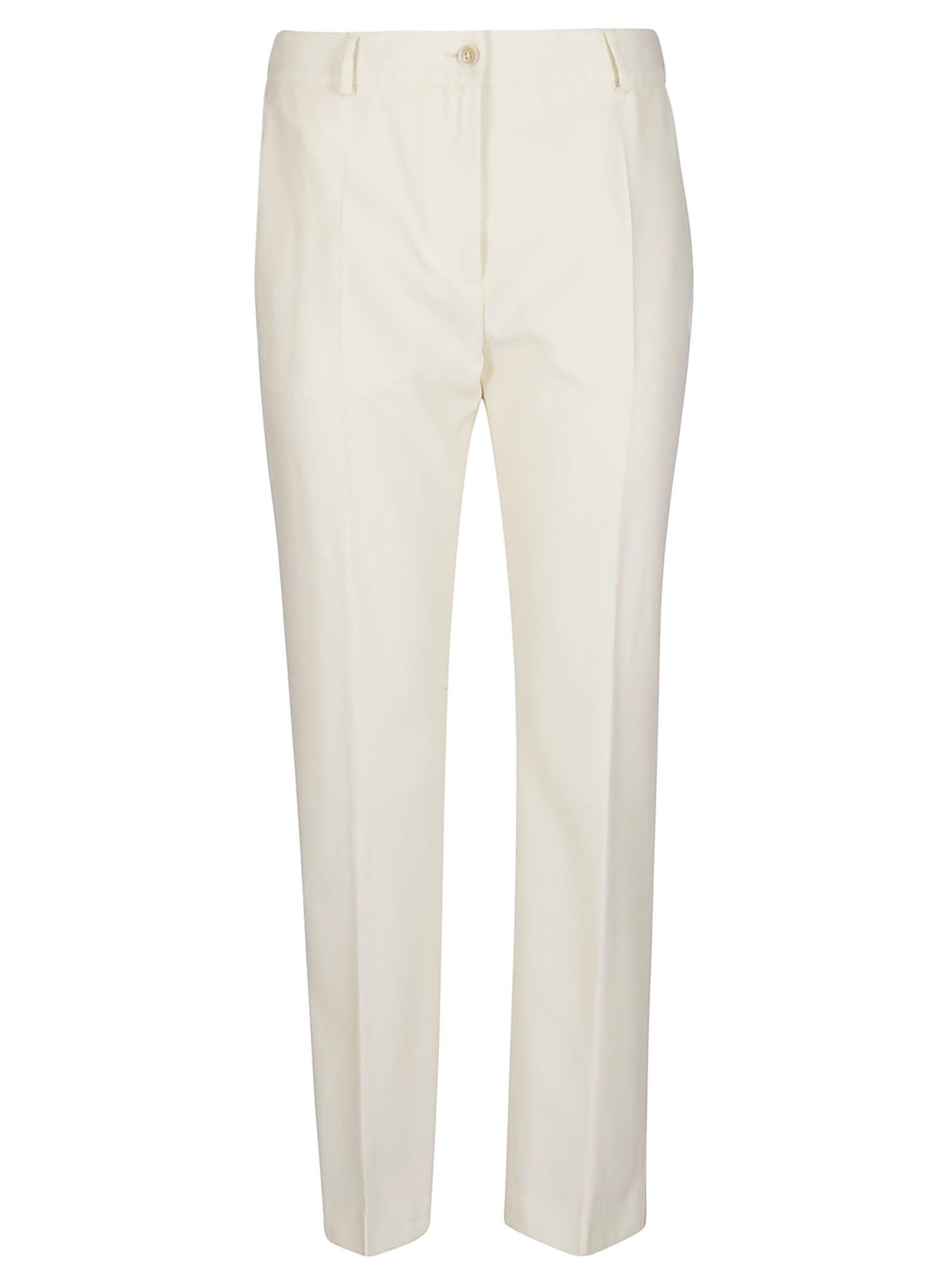 Agnona White Wool Trousers