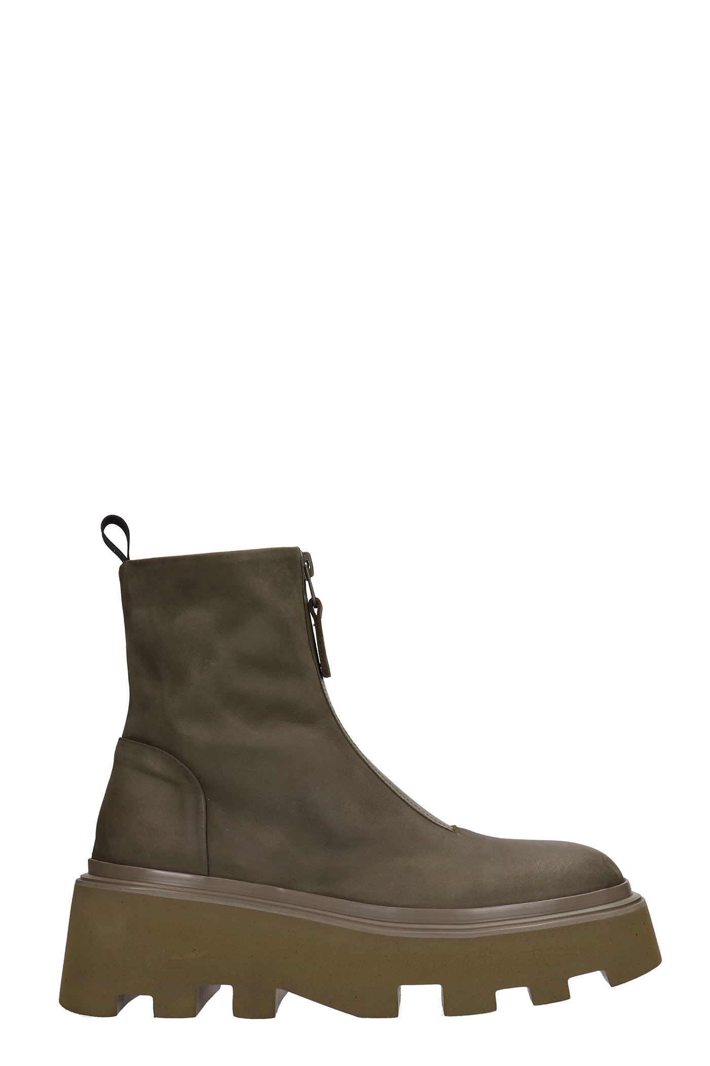 Low Heels Ankle Boots In Green Leather