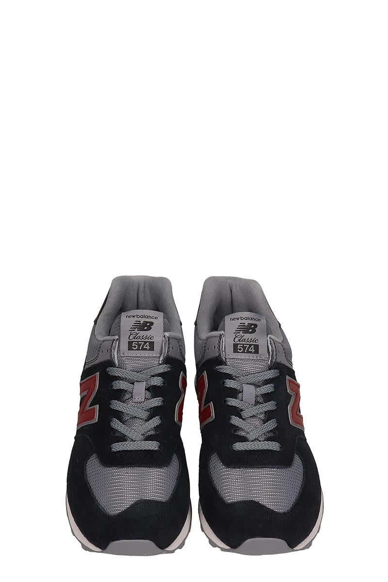 buy popular a8b11 8a794 New Balance Suede And Canvas 574 Black And Grey Sneakers