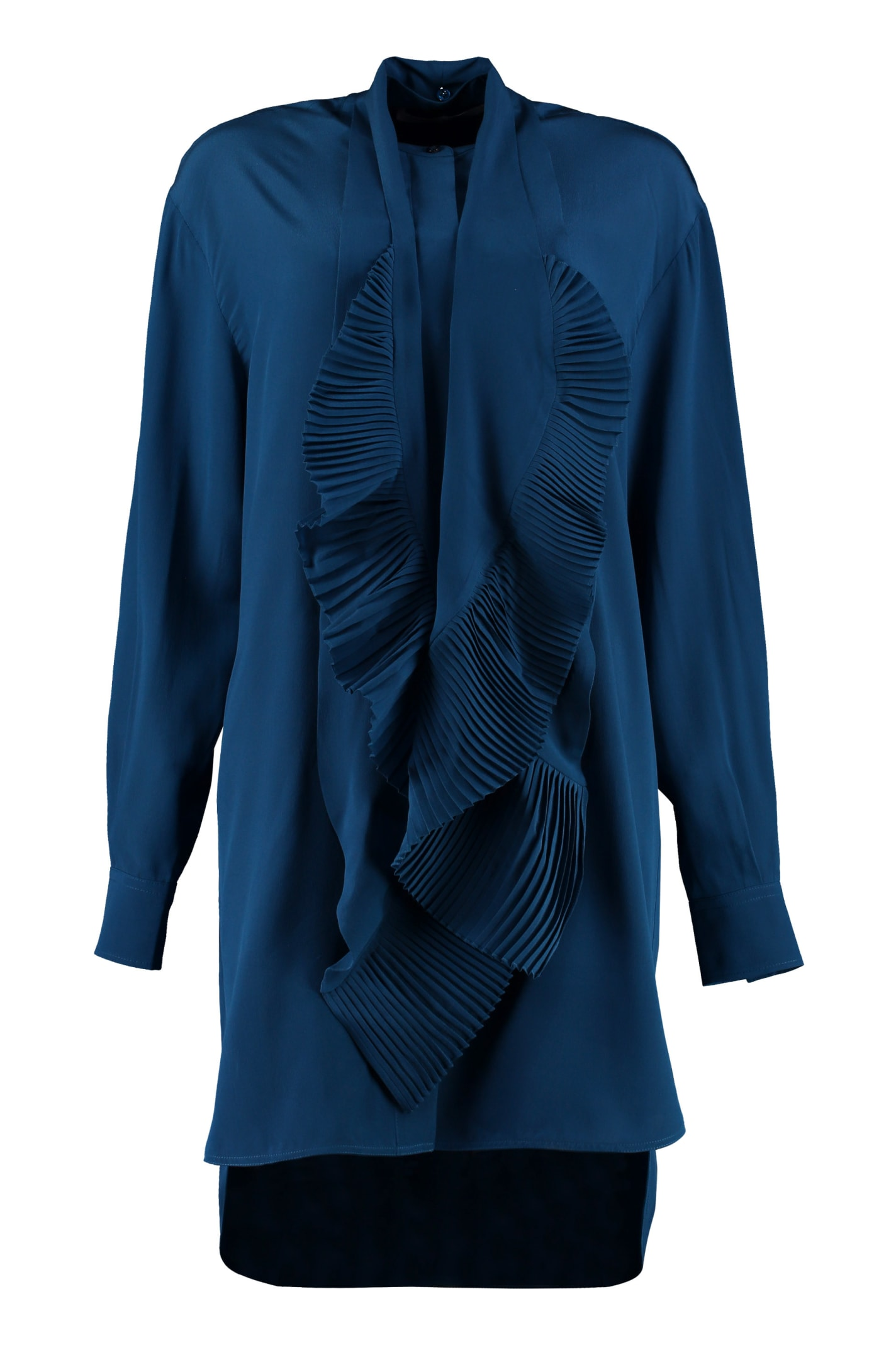 Givenchy Pleated Scarf Silk Shirtdress
