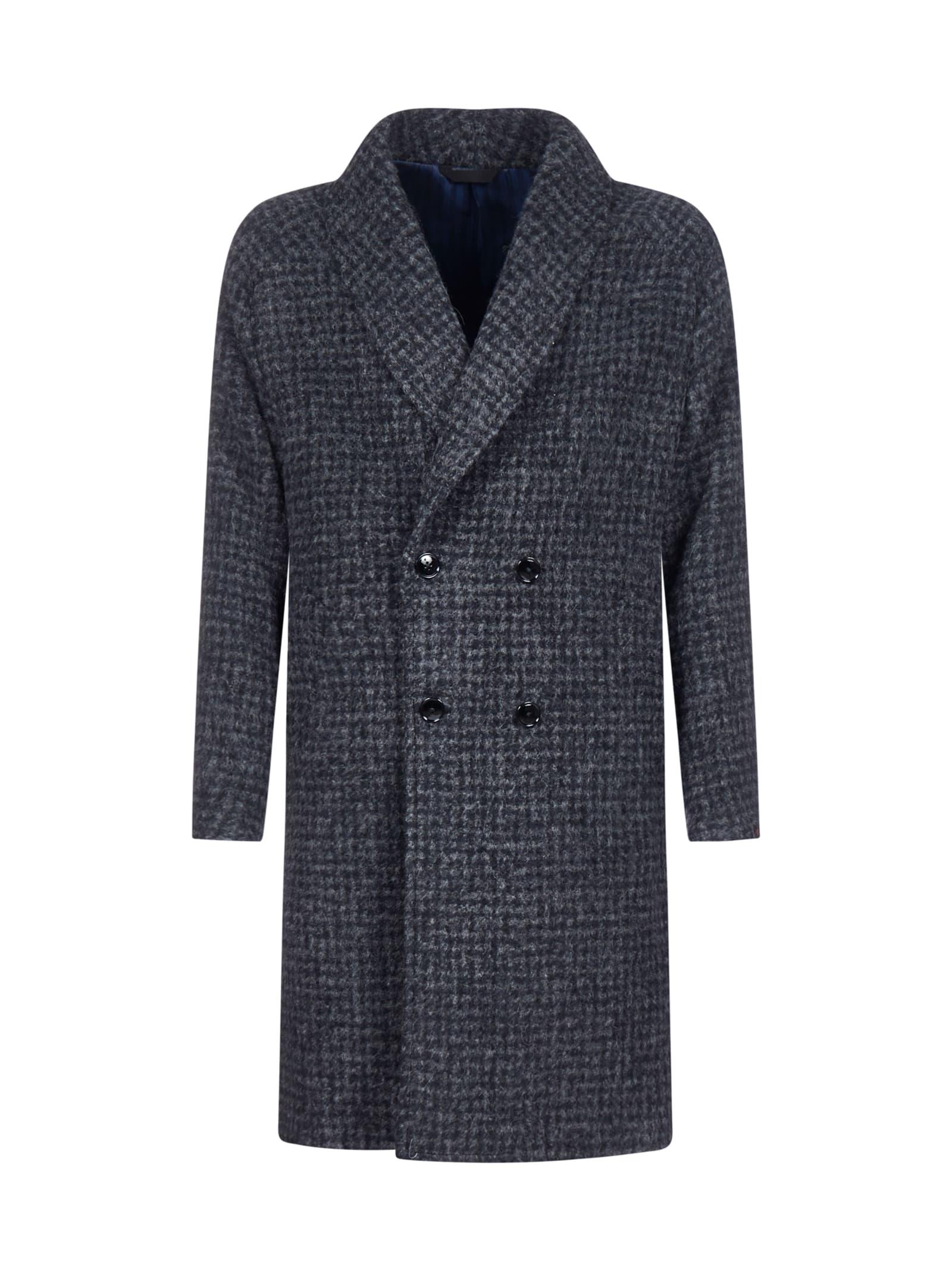 Gingham Wool-blend Coat