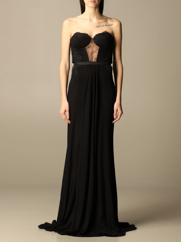 Buy Elisabetta Franchi Dress Elisabetta Franchi Long Dress With Lace Inserts online, shop Elisabetta Franchi with free shipping