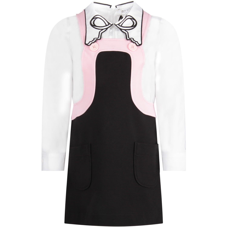 Vivetta White, Pink And Black Girl Dress