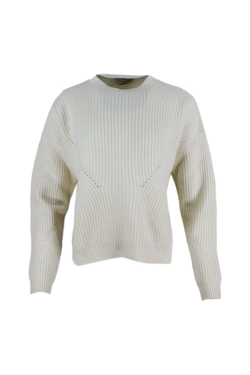 English Rib Turtleneck Sweater With Side Slits In Cashmere Blend