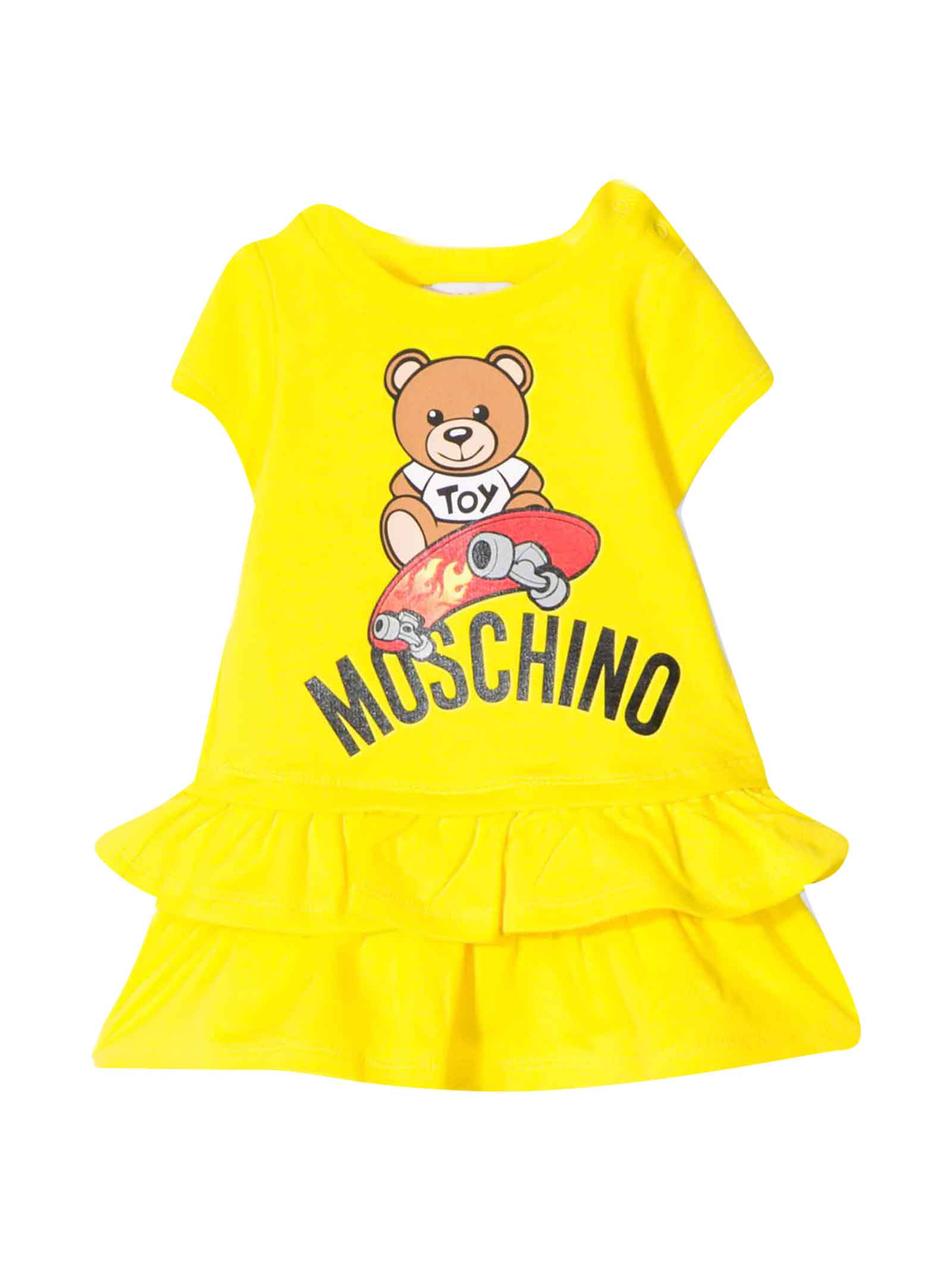 Buy Moschino Yellow Dress With Flounces online, shop Moschino with free shipping