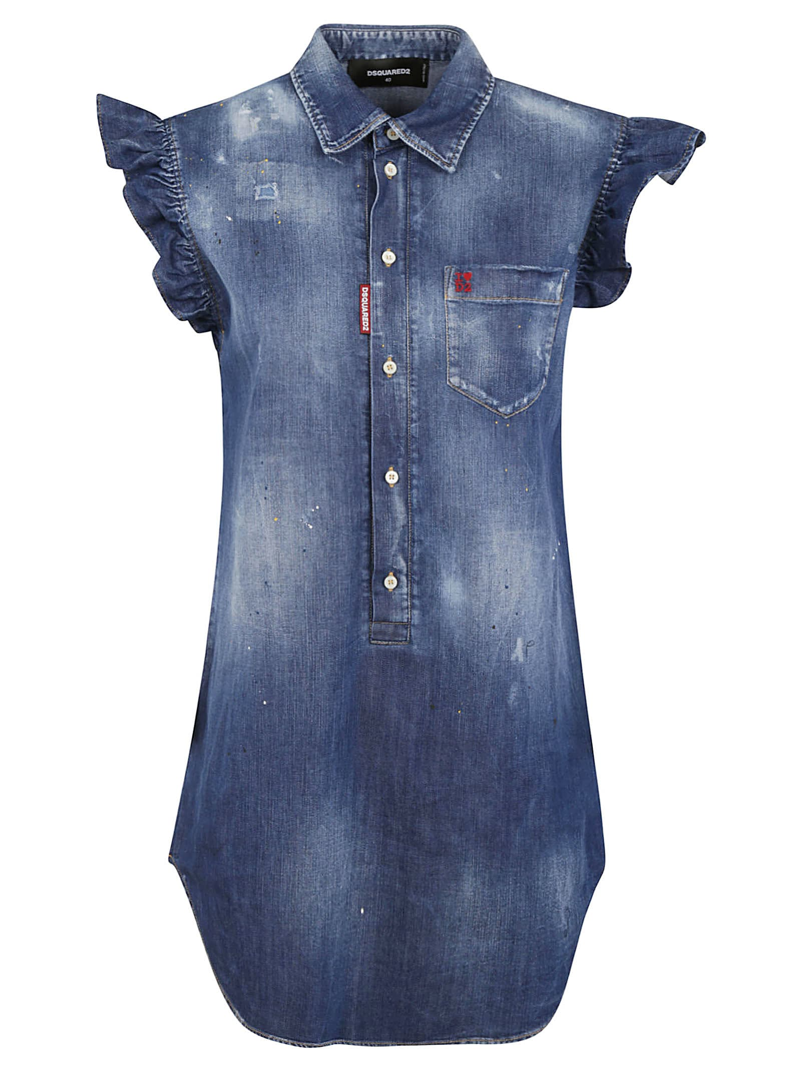 Buy Dsquared2 Short Ruffled Sleeveless Denim Dress online, shop Dsquared2 with free shipping
