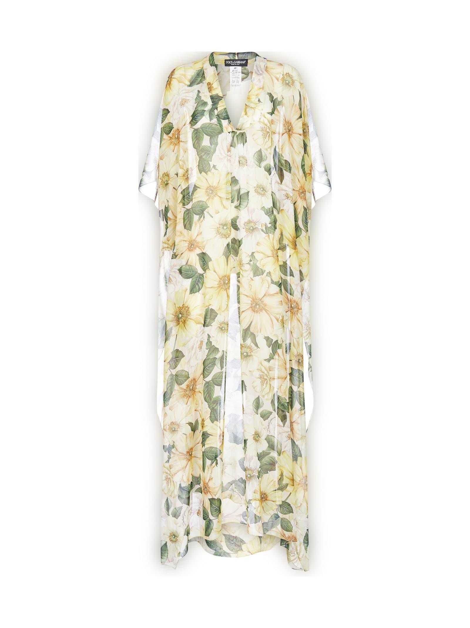 Buy Dolce & Gabbana Camellias Print Silk Caftan Dress online, shop Dolce & Gabbana with free shipping