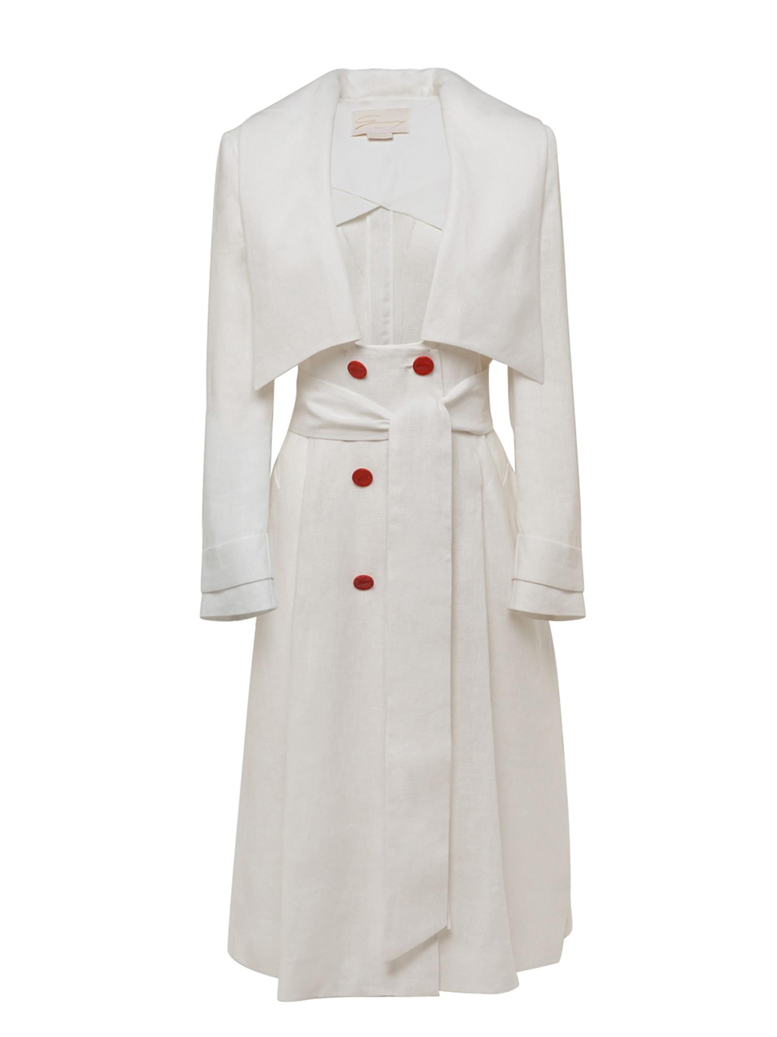 White Linen Trench Coat