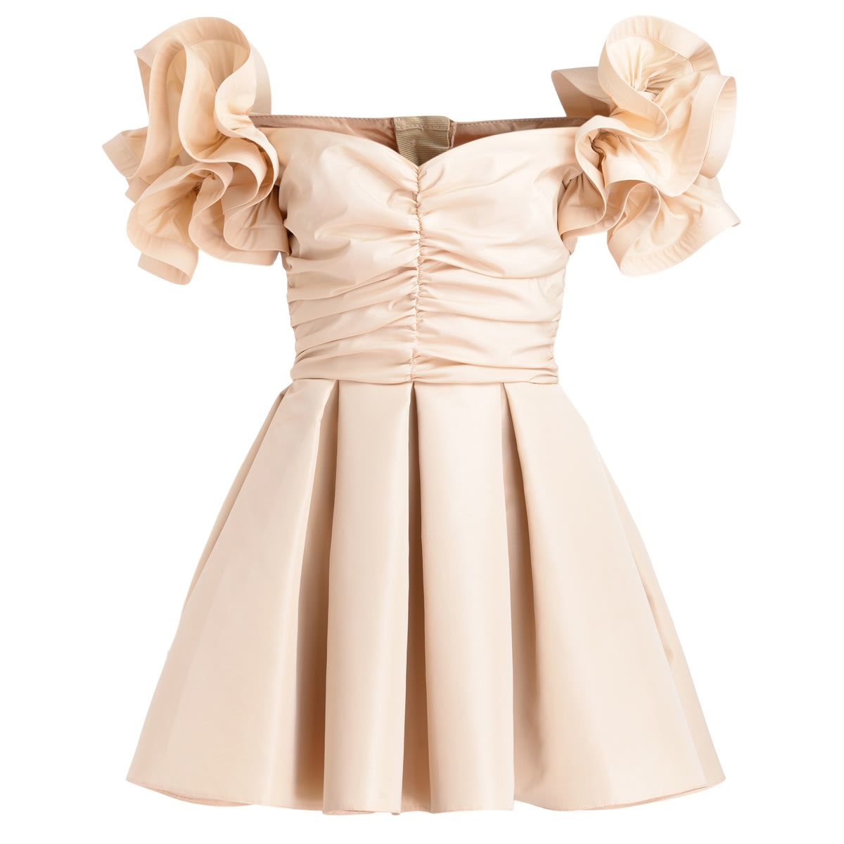 Buy Champagne Elisabetta Franchi Dress In Ottoman online, shop Elisabetta Franchi with free shipping
