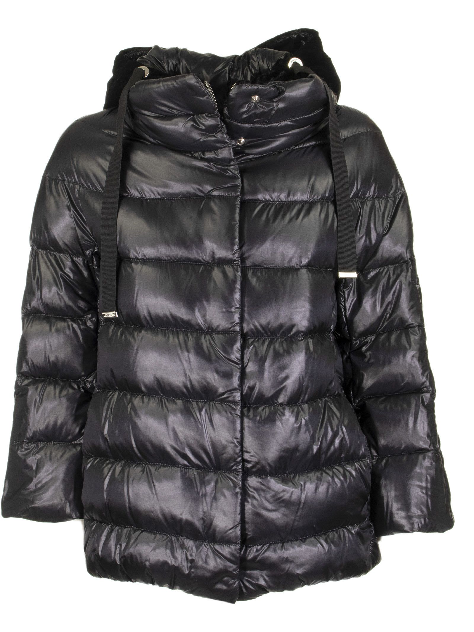 Herno Black Down Jacket With Hood