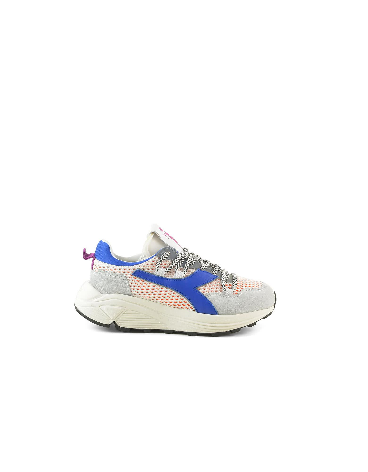 Blue Suede And Mesh Womens Chunky Sneakers