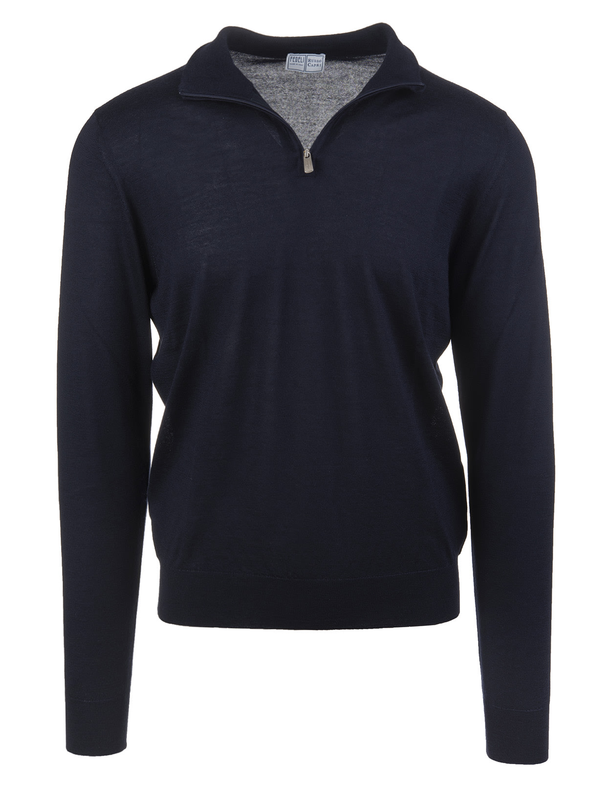 Man Half-zip Favonio Pullover In Night Blue Silk And Cashmere