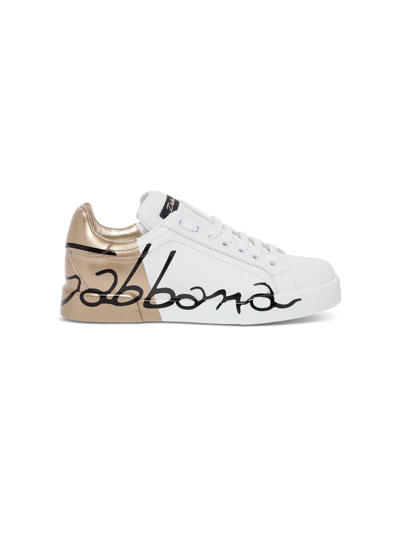 Dolce & Gabbana PORTOFINO WHITE AND GOLD SNEAKERS