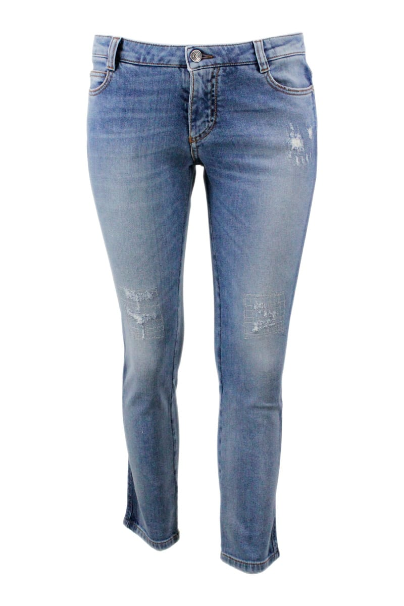 Ermanno Scervino SLIM JEANS TROUSERS WITH TEARS