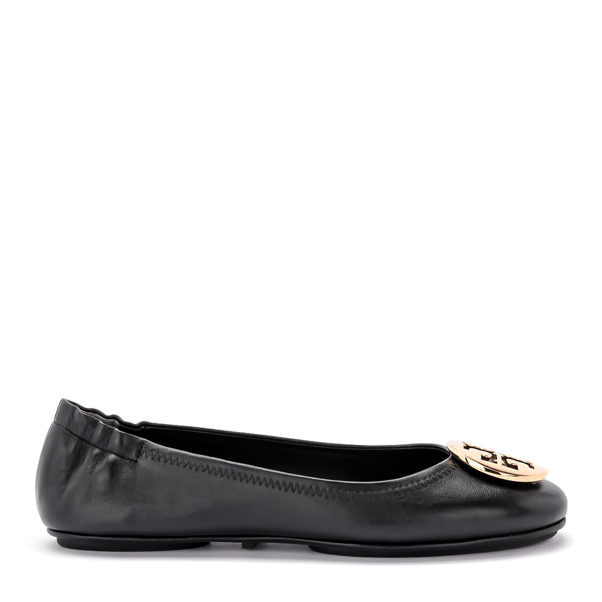Tory Burch Minnie Travel Black And Gold Nappa Flat Shoes.