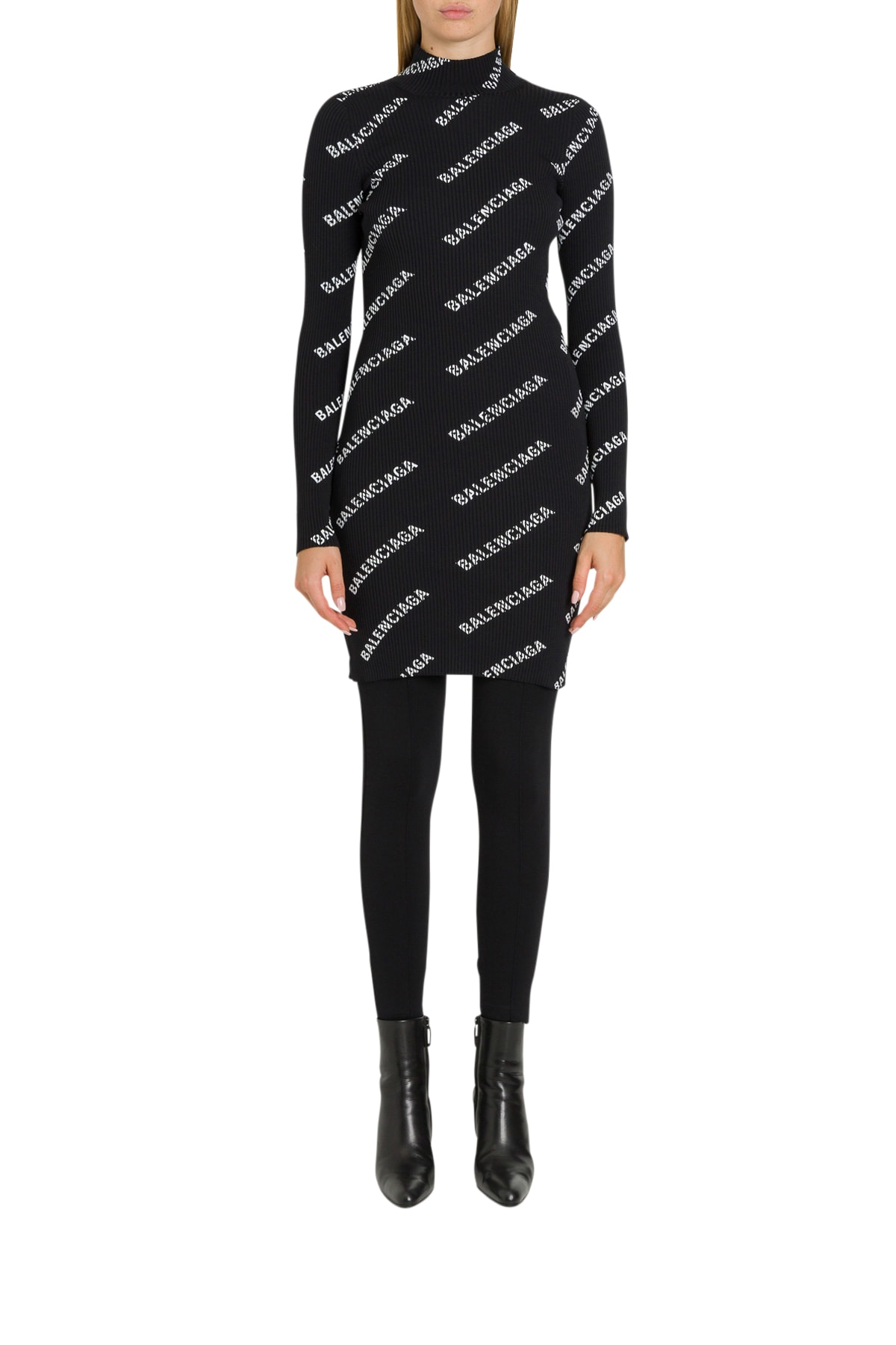 Balenciaga Allover Logo Ribbed Knit Dress