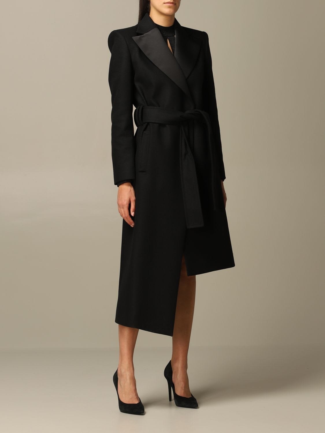 Just Cavalli Coat Just Cavalli Asymmetrical Coat In Wool And Satin