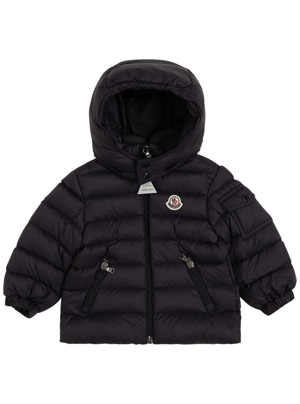 Moncler Black Nylon Down Jacket With Logo Patch