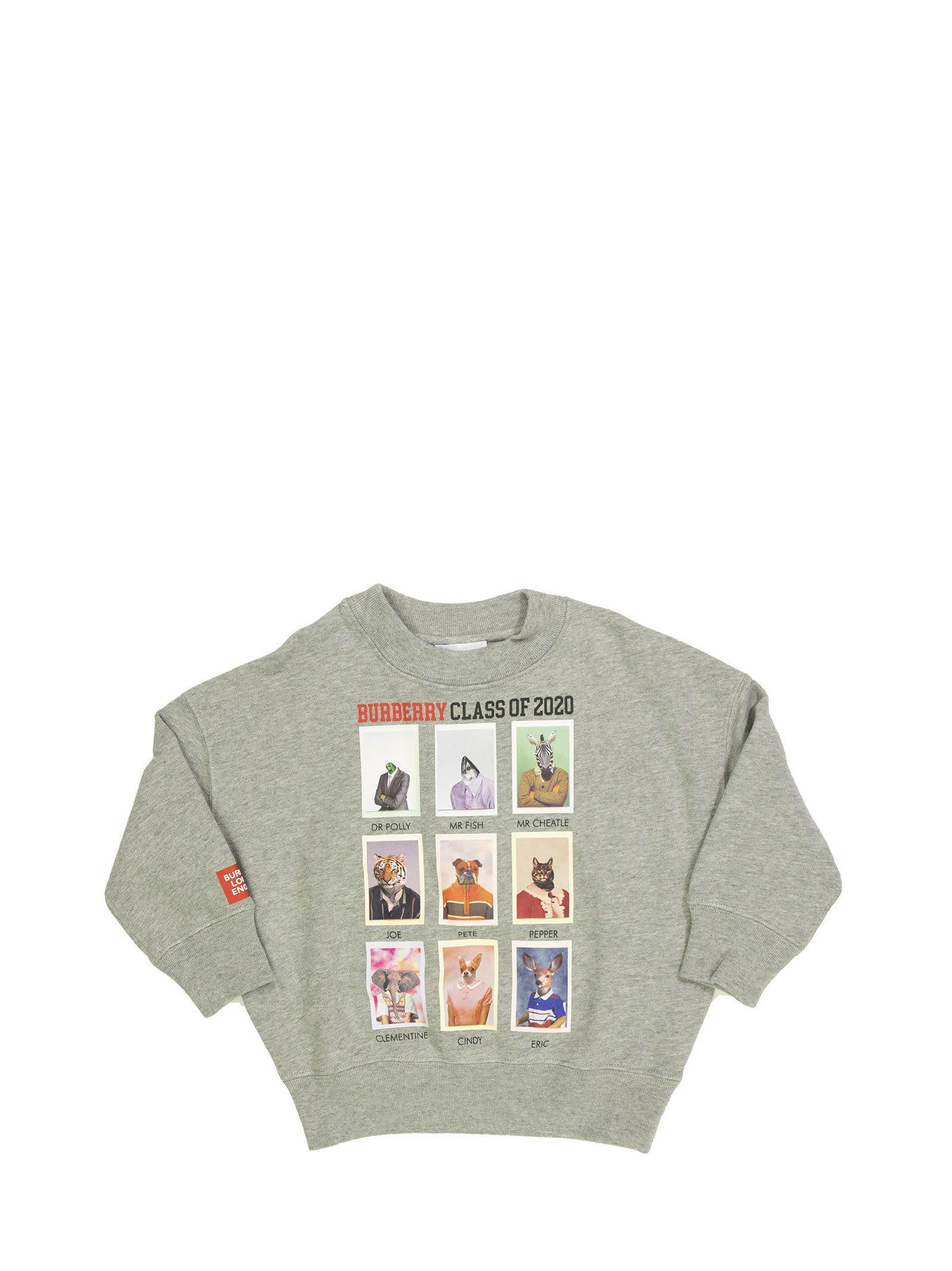 Burberry Kids' Yearbook Character Print Cotton Sweatshirt In Grey Melange