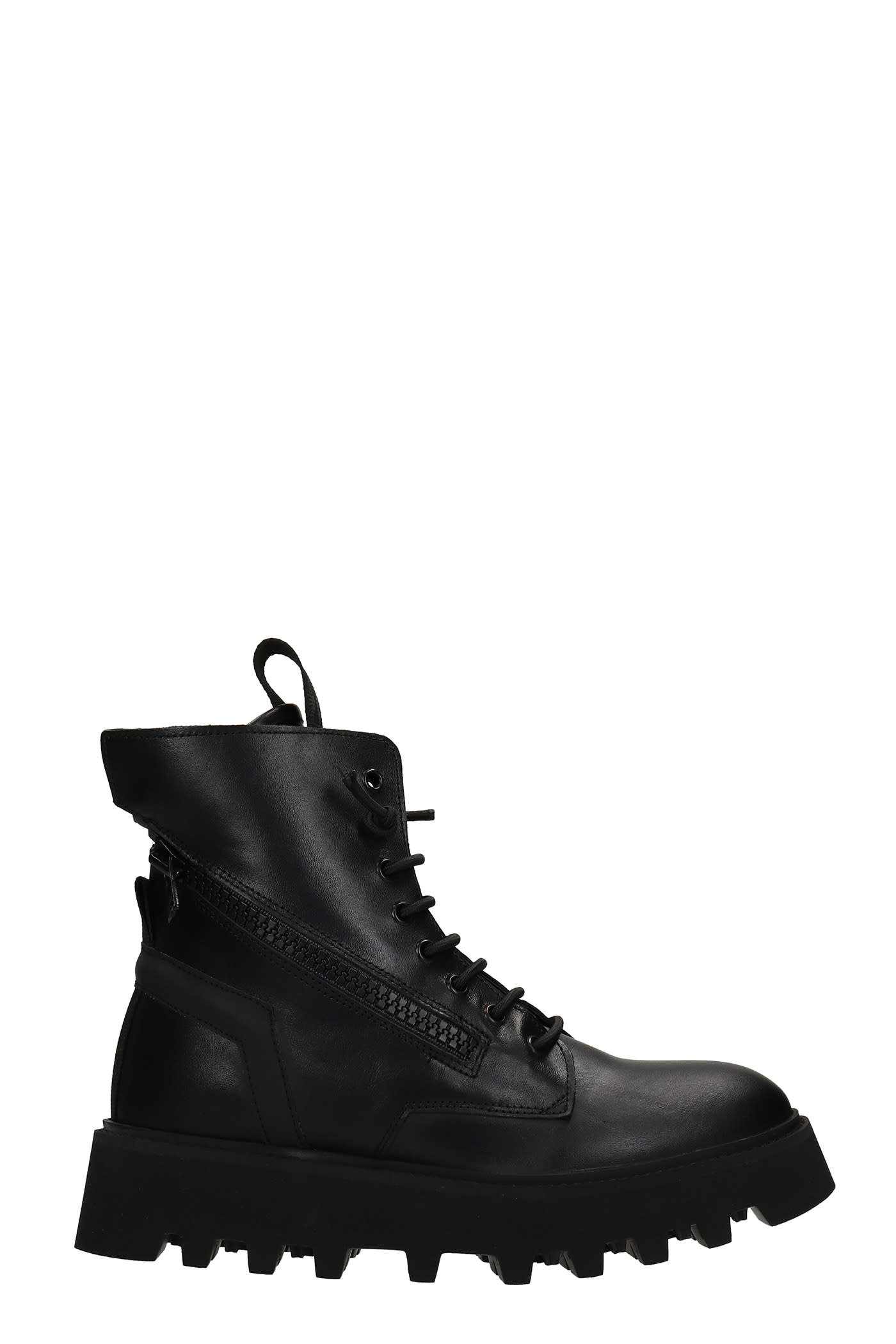 Pray Combat Boots In Black Leather