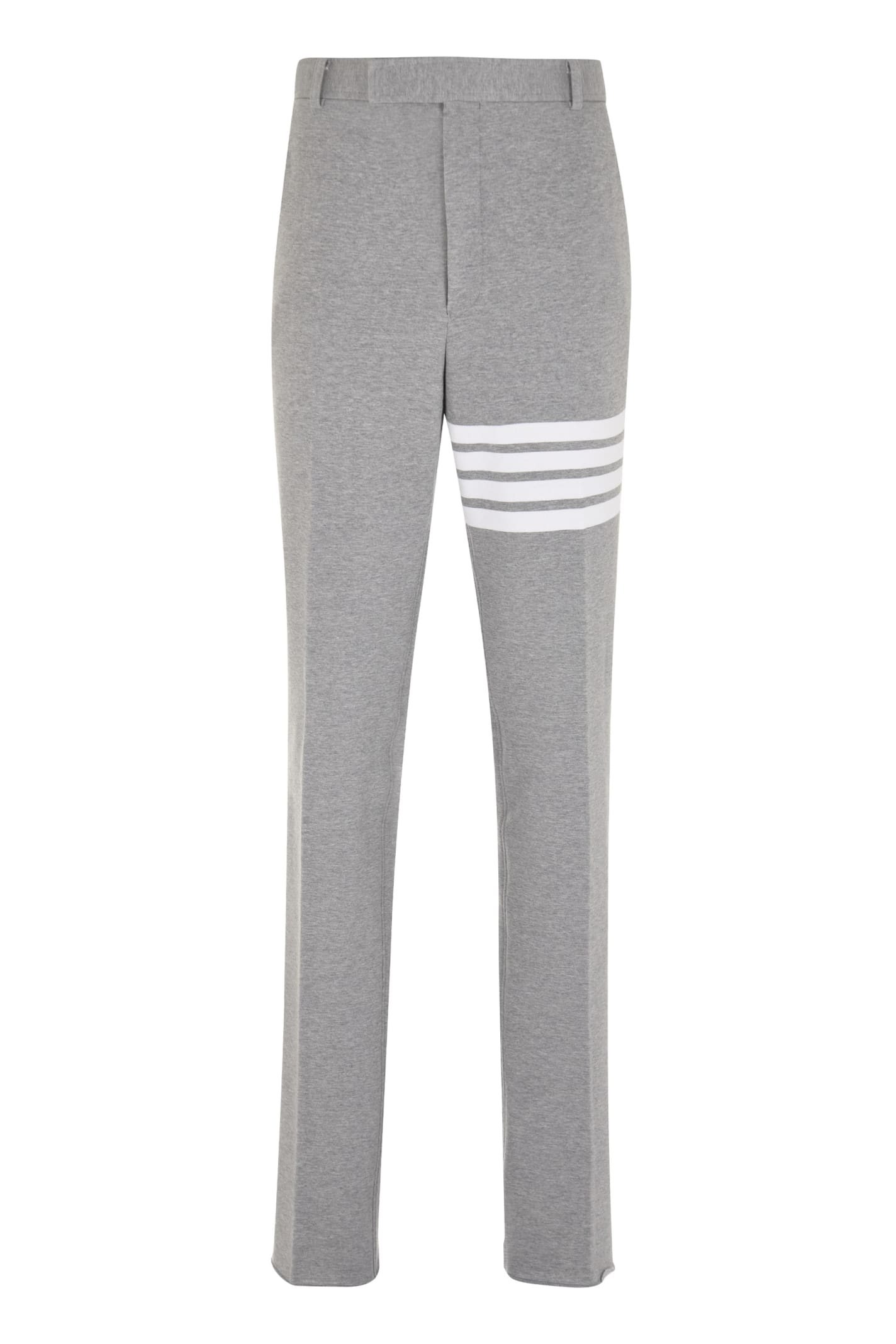 Thom Browne Cotton Chino Trousers In Grey