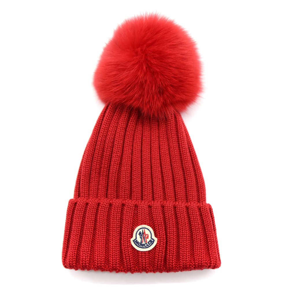 Moncler RED WOOL HAT WITH FUR POMPON