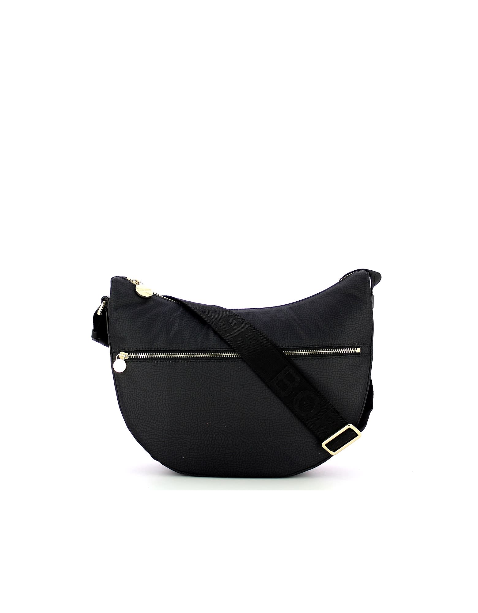 Borbonese BLACK MIDDLE HALF-MOON SHOULDER BAG
