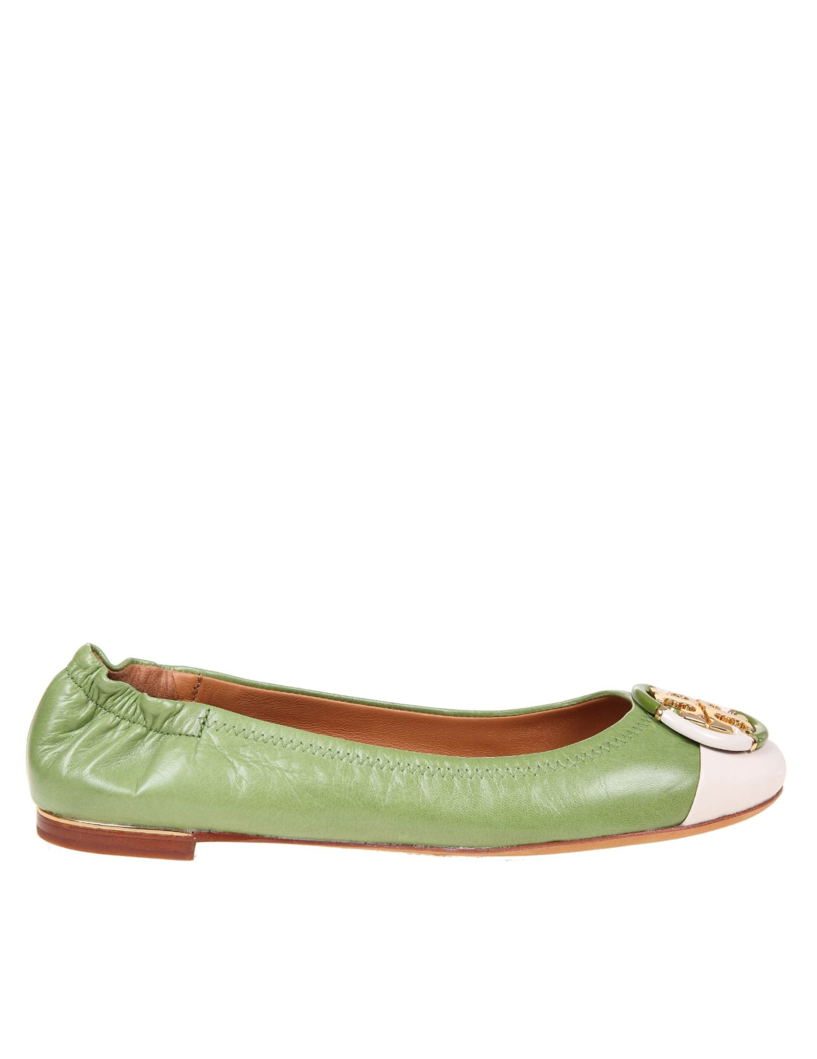 Buy Tory Burch Ballerina Multi Logo In Green Leather online, shop Tory Burch shoes with free shipping