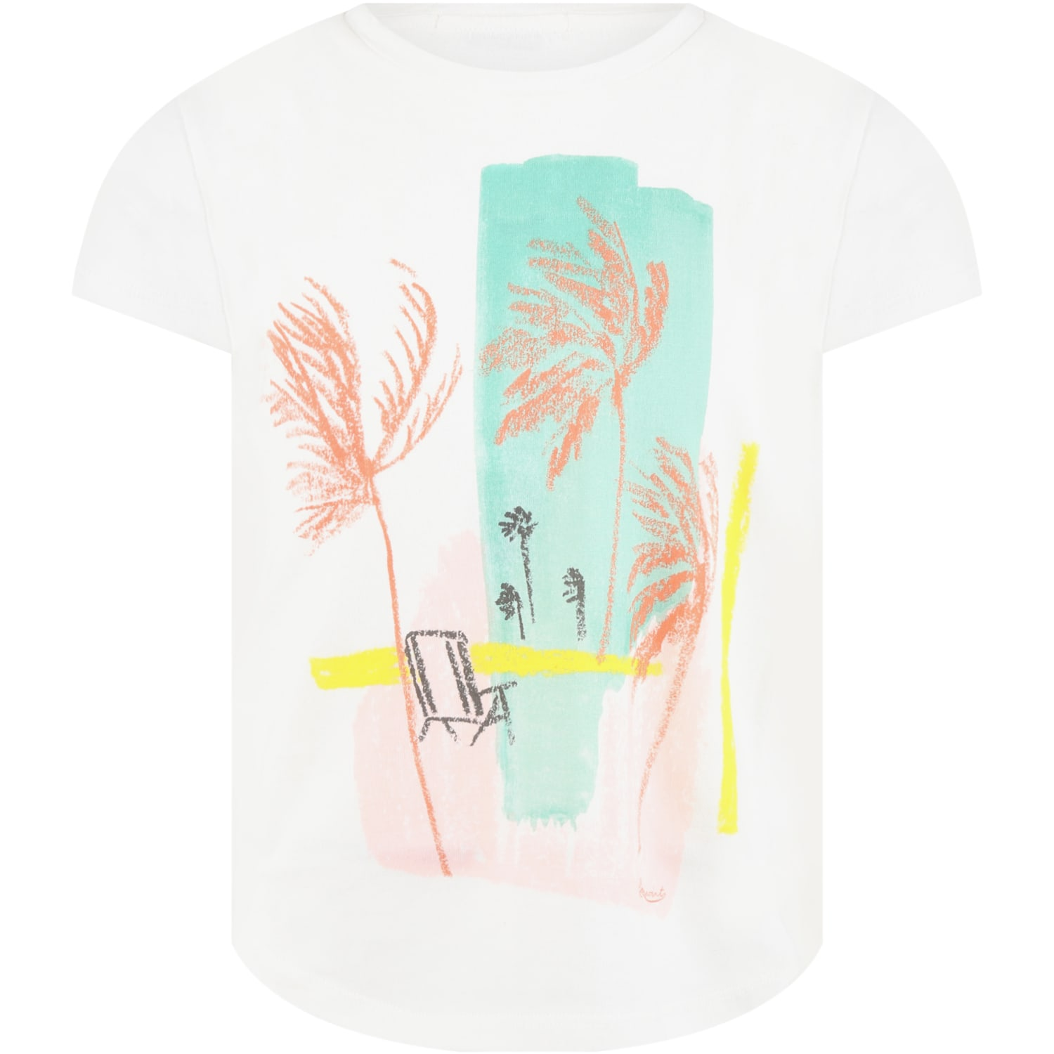 White T-shirt For Girl With Palms