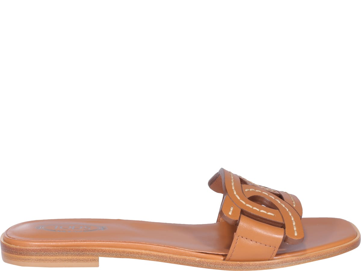 Tod's Leathers LOGO FLAT SANDALS
