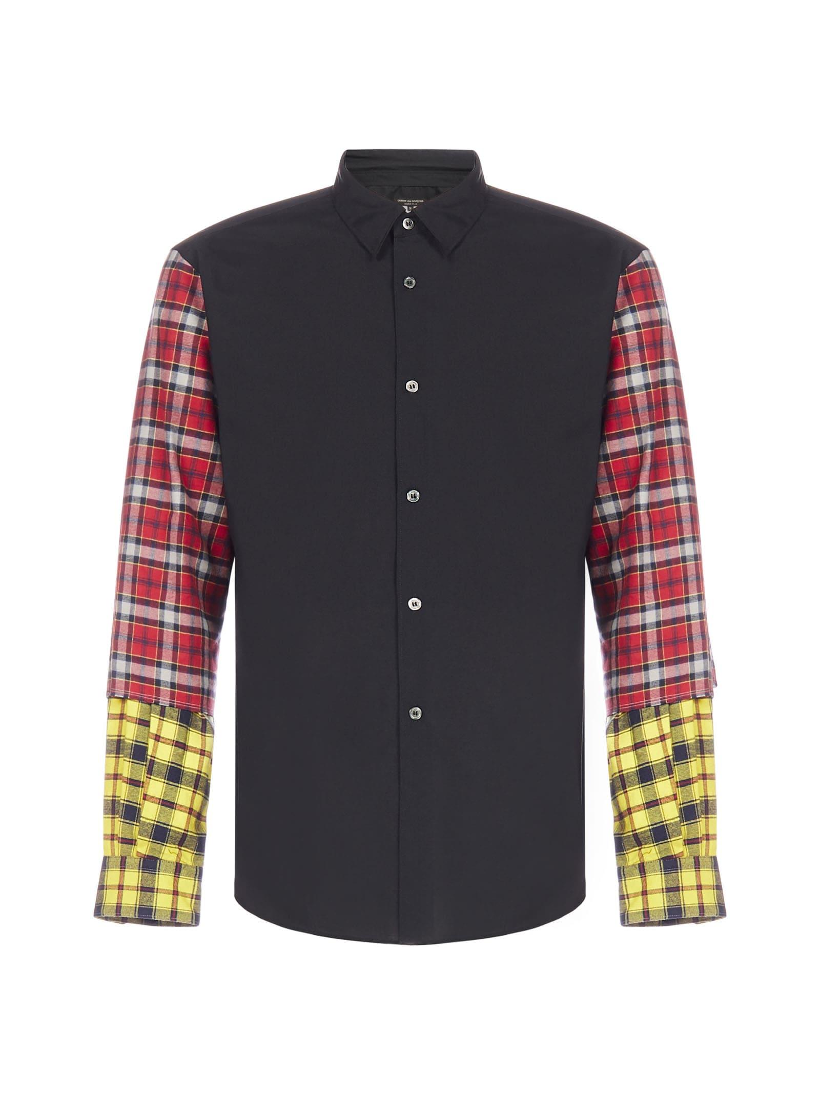 Comme Des Garçons Homme Plus Check Wool-sleeves Cotton Shirt