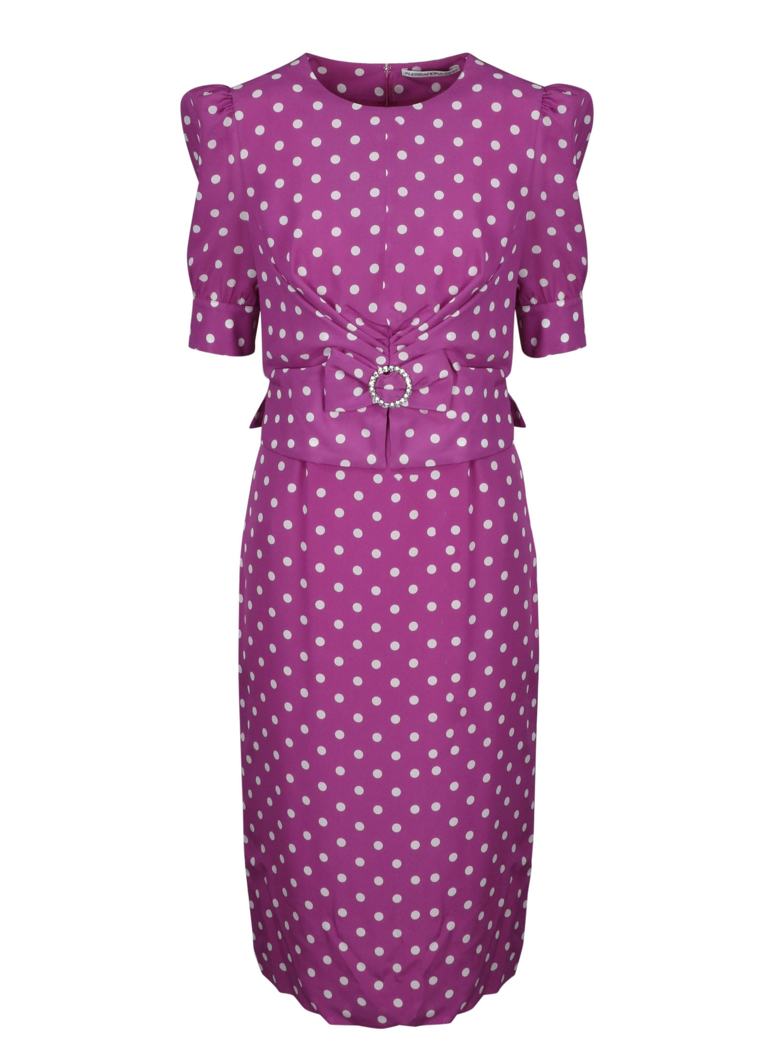 Buy Alessandra Rich Longuette Dress With Crystal Buckle online, shop Alessandra Rich with free shipping