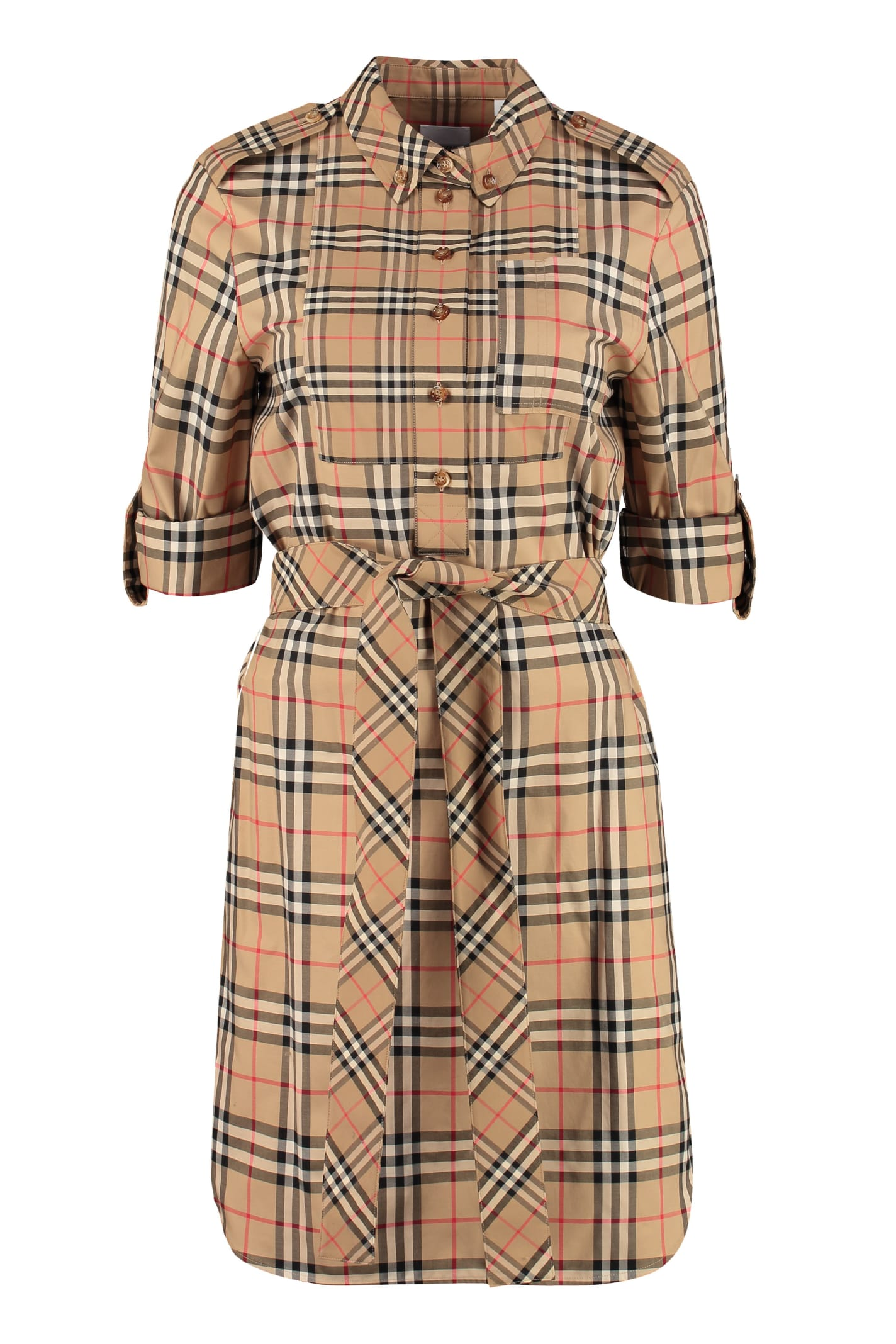 Buy Burberry Checked Cotton Shirtdress online, shop Burberry with free shipping