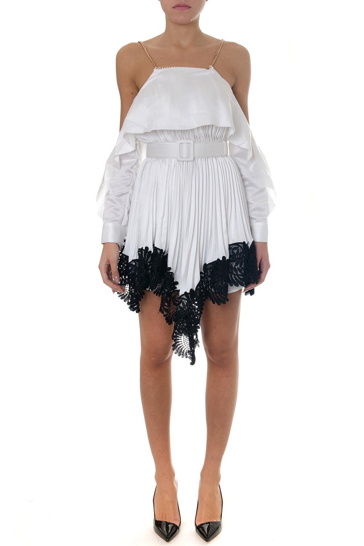self-portrait White Off The Shoulder Dress With Lace Trim