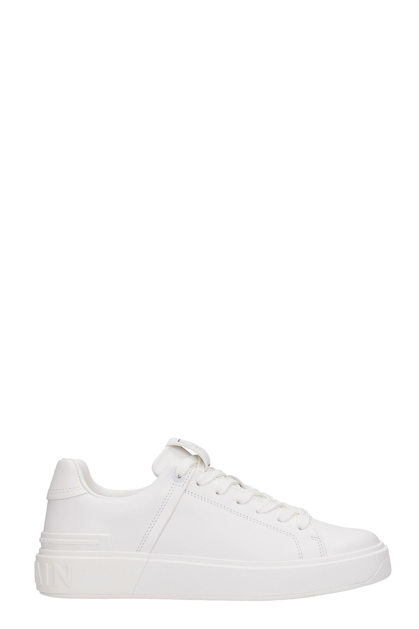 Balmain Leathers SNEAKERS IN WHITE LEATHER