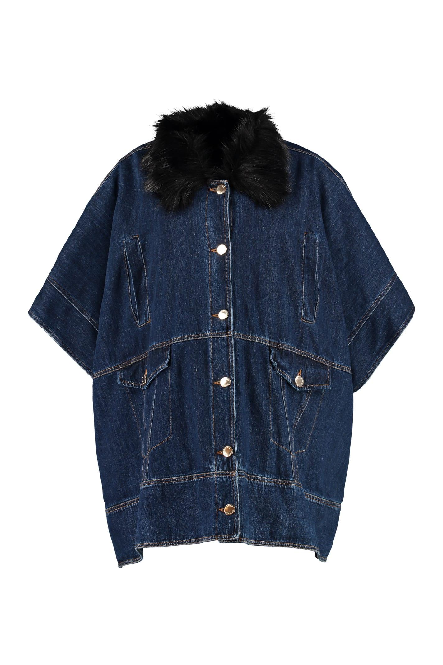 Pinko Jelly Denim Cape Coat