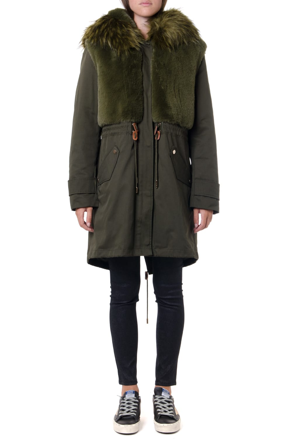 Dondup Faux Fur Insert Technical Fabric Parka Jacket