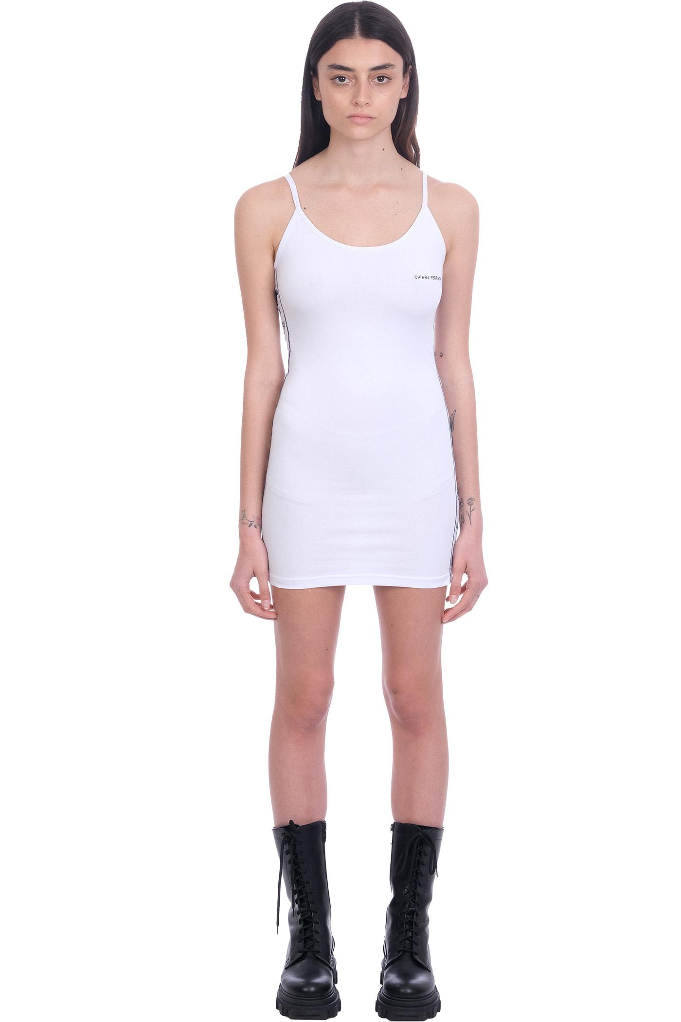 Buy Chiara Ferragni Dress In White Cotton online, shop Chiara Ferragni with free shipping