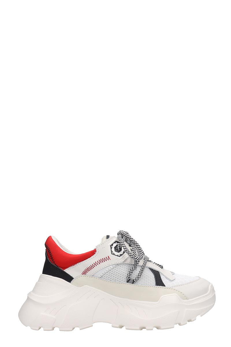 M.O.A. MASTER OF ARTS SNEAKERS IN WHITE LEATHER AND FABRIC