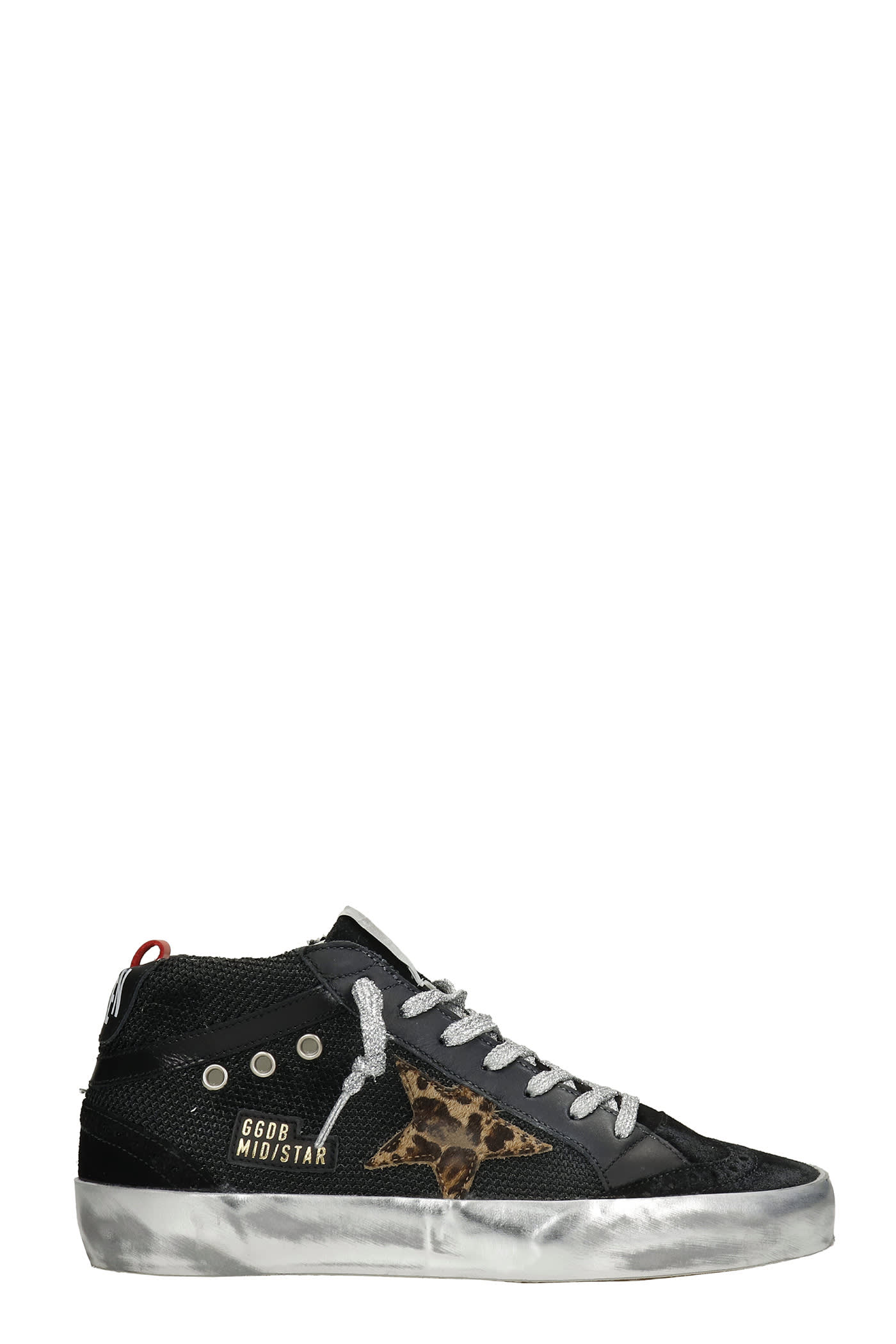 Golden Goose Mid Star Sneakers In Black Leather