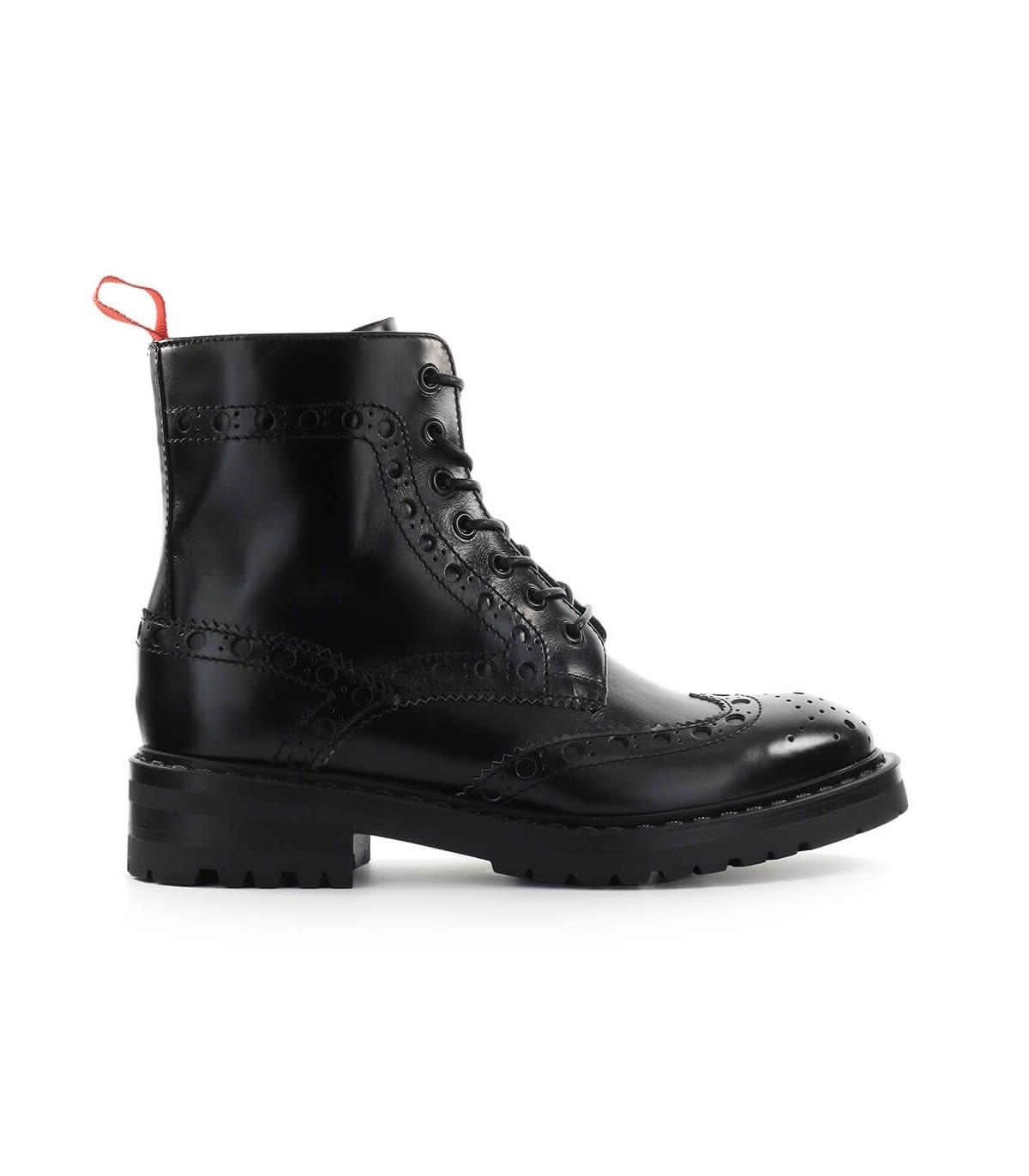 Barracuda Black Leather Combat Boot