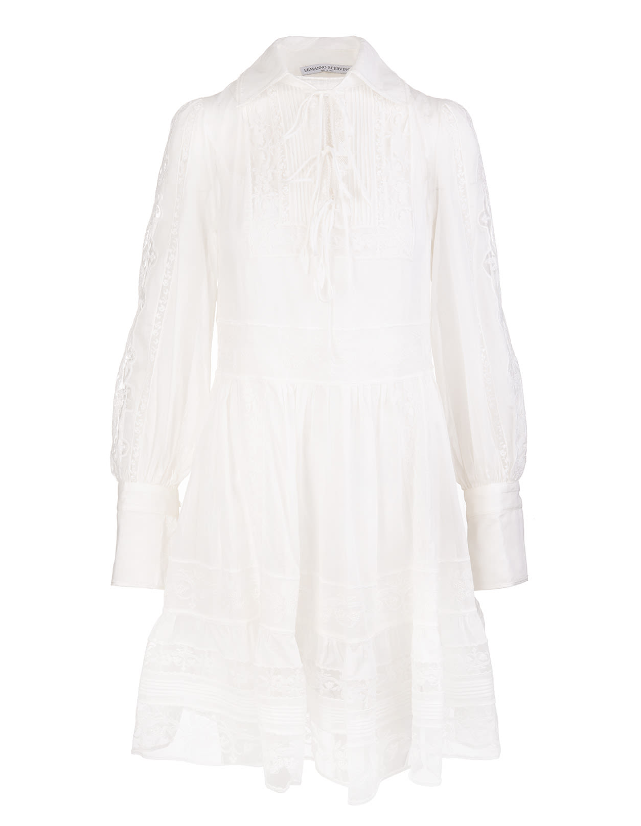 Ermanno Scervino White Short Dress With Lace Inserts