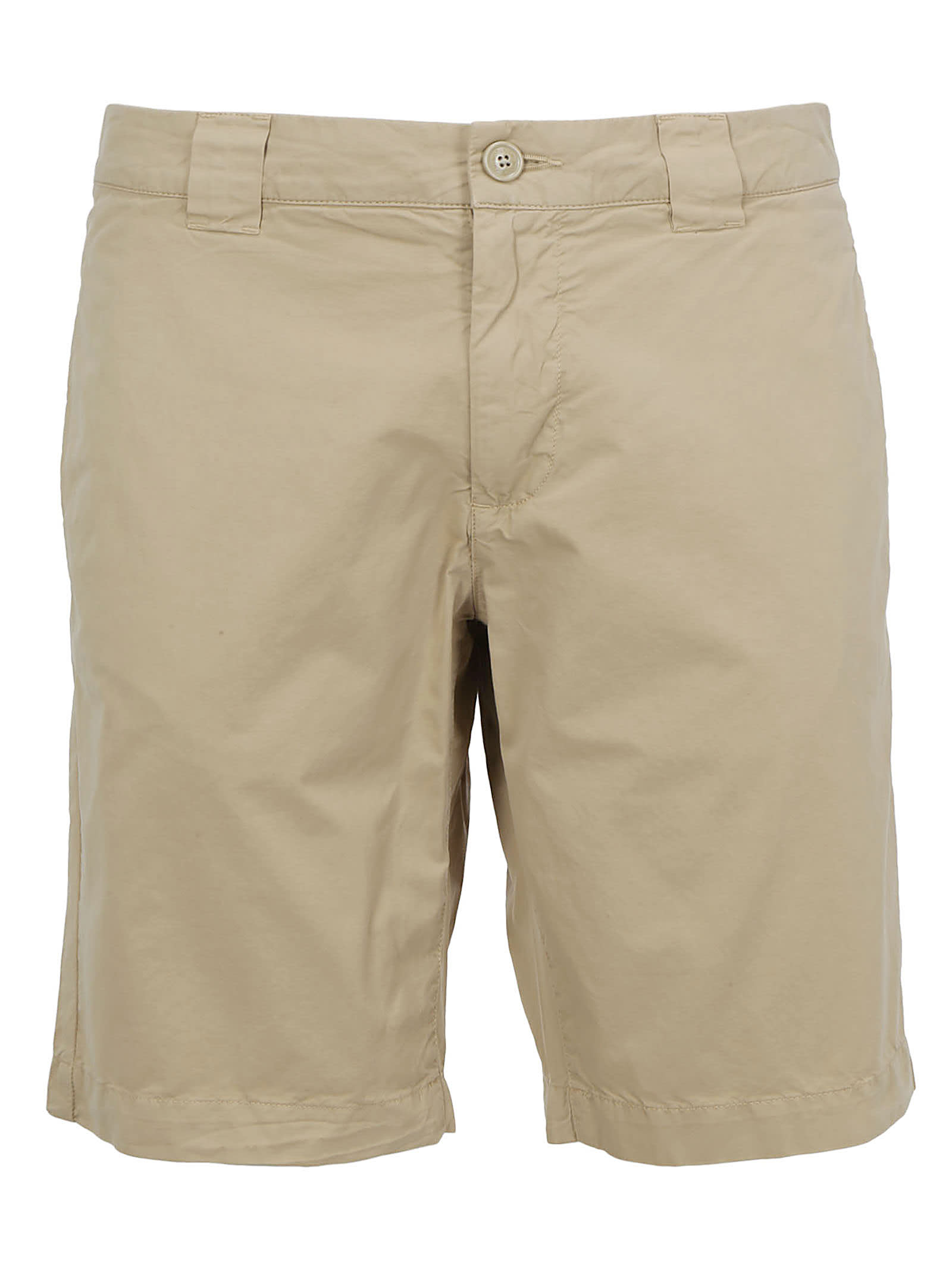 Beige Cotton Bermuda Shorts by Woolrich, zip and button closure, belt loops, two welt pockets on front and back, back logo tag. Composition: 100% Cotton