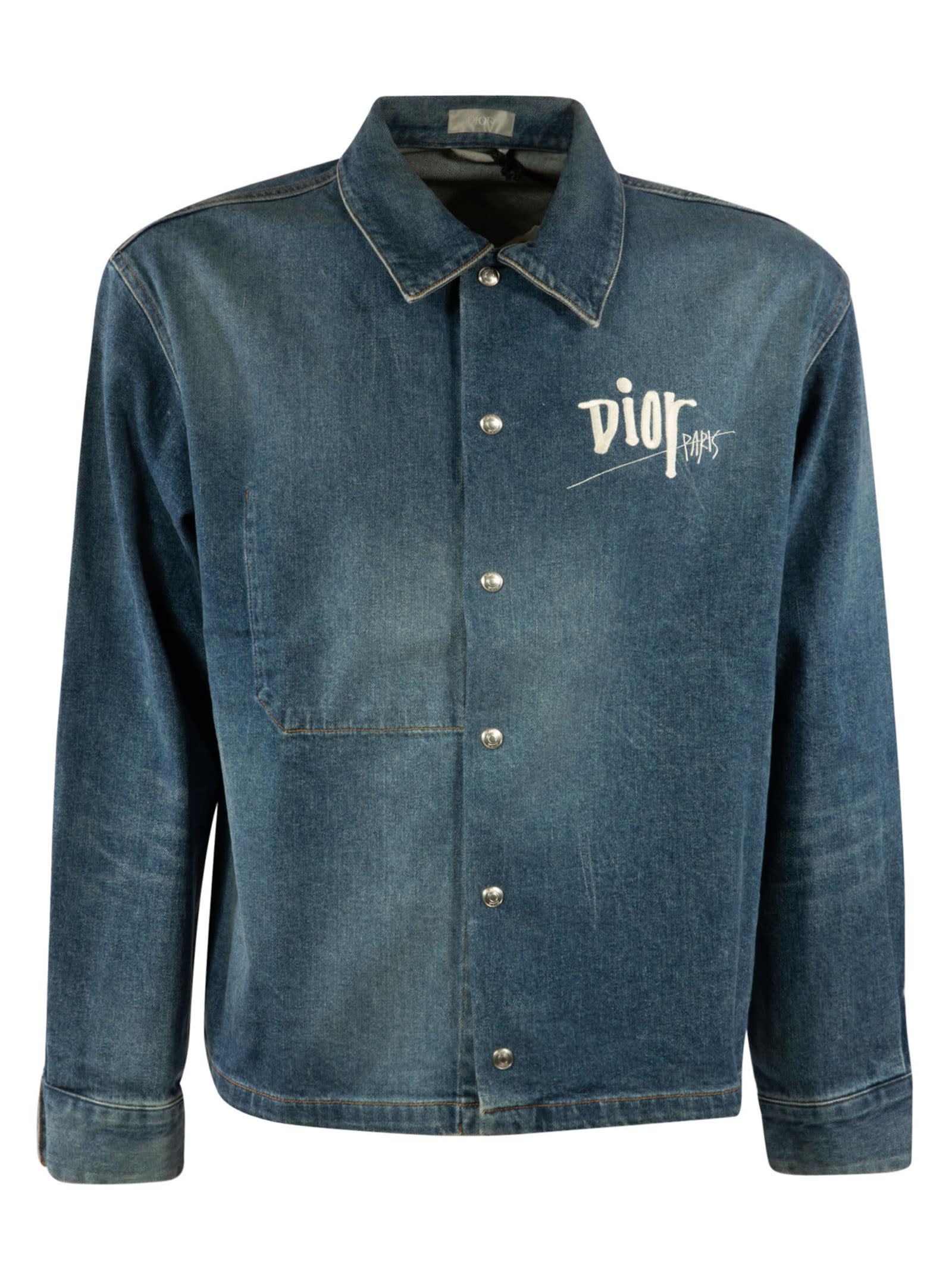 Dior Denim Logo Shirt In Blue