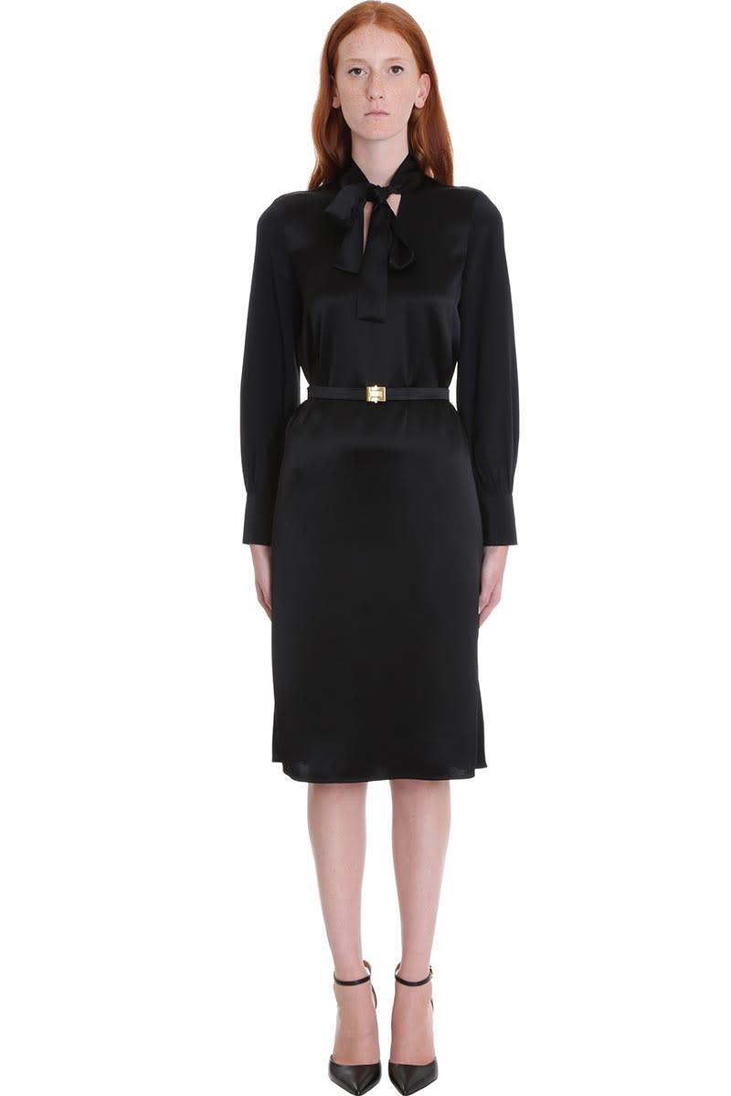 Tory Burch Bow Dress In Black Silk