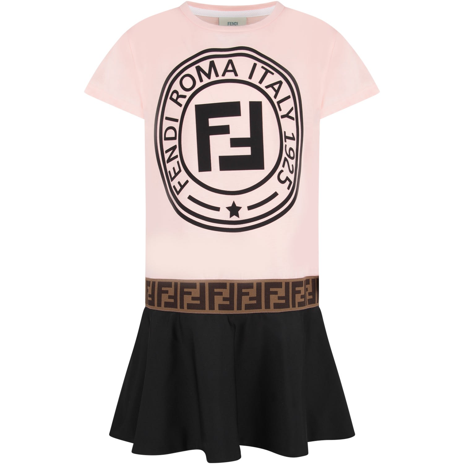 Fendi Pink And Blue Girl Dress With Black Iconic Logo