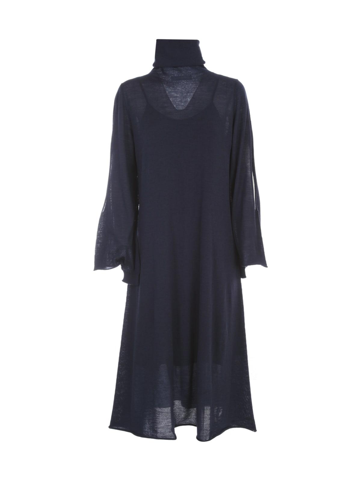 Wool Long Dress L/s High Neck W/slit