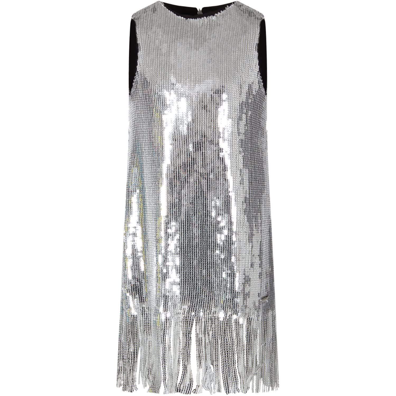 Buy MSGM Silver Girl Dress With Sequins online, shop MSGM with free shipping