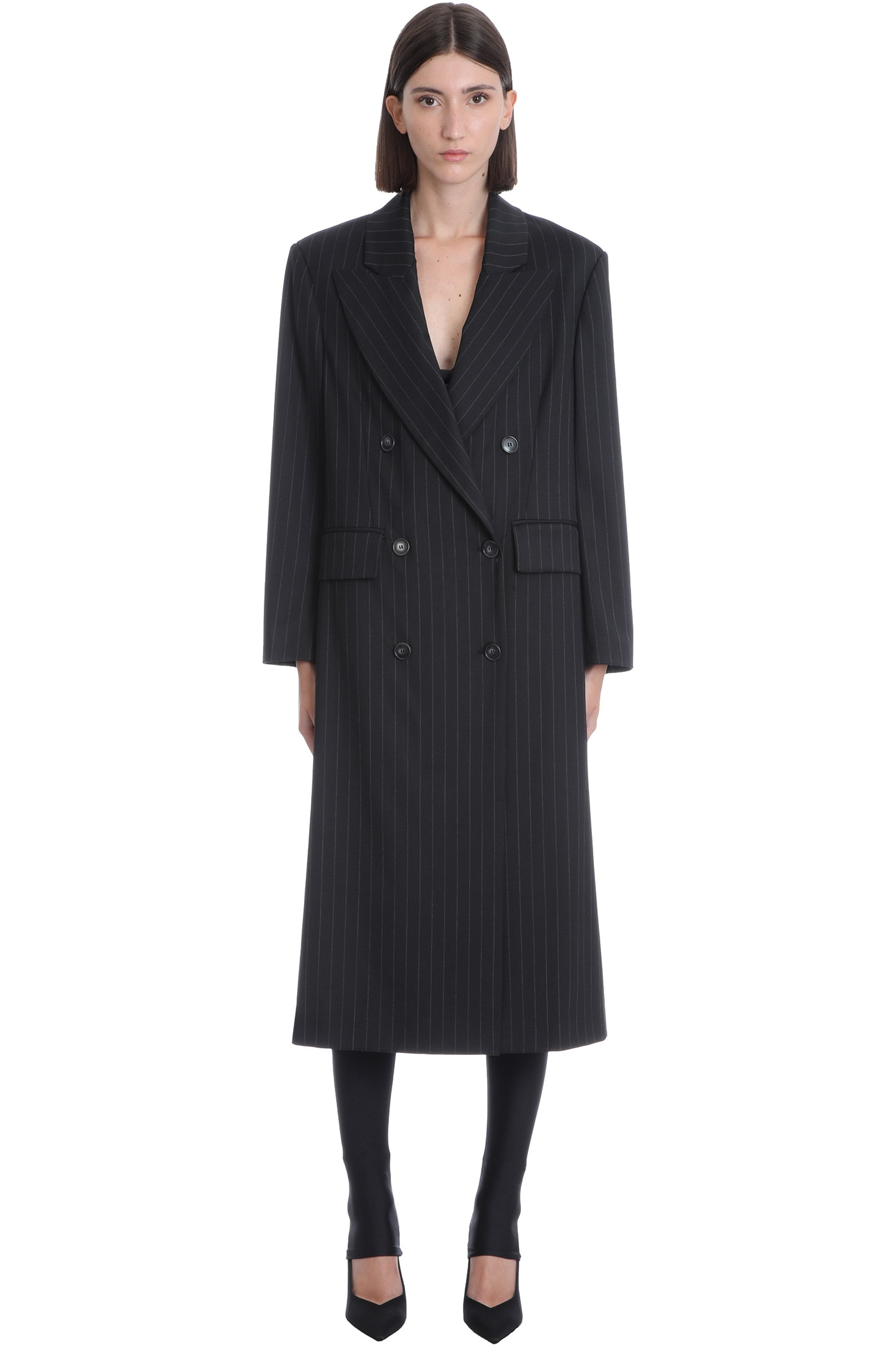 Halston Coat In Black Wool