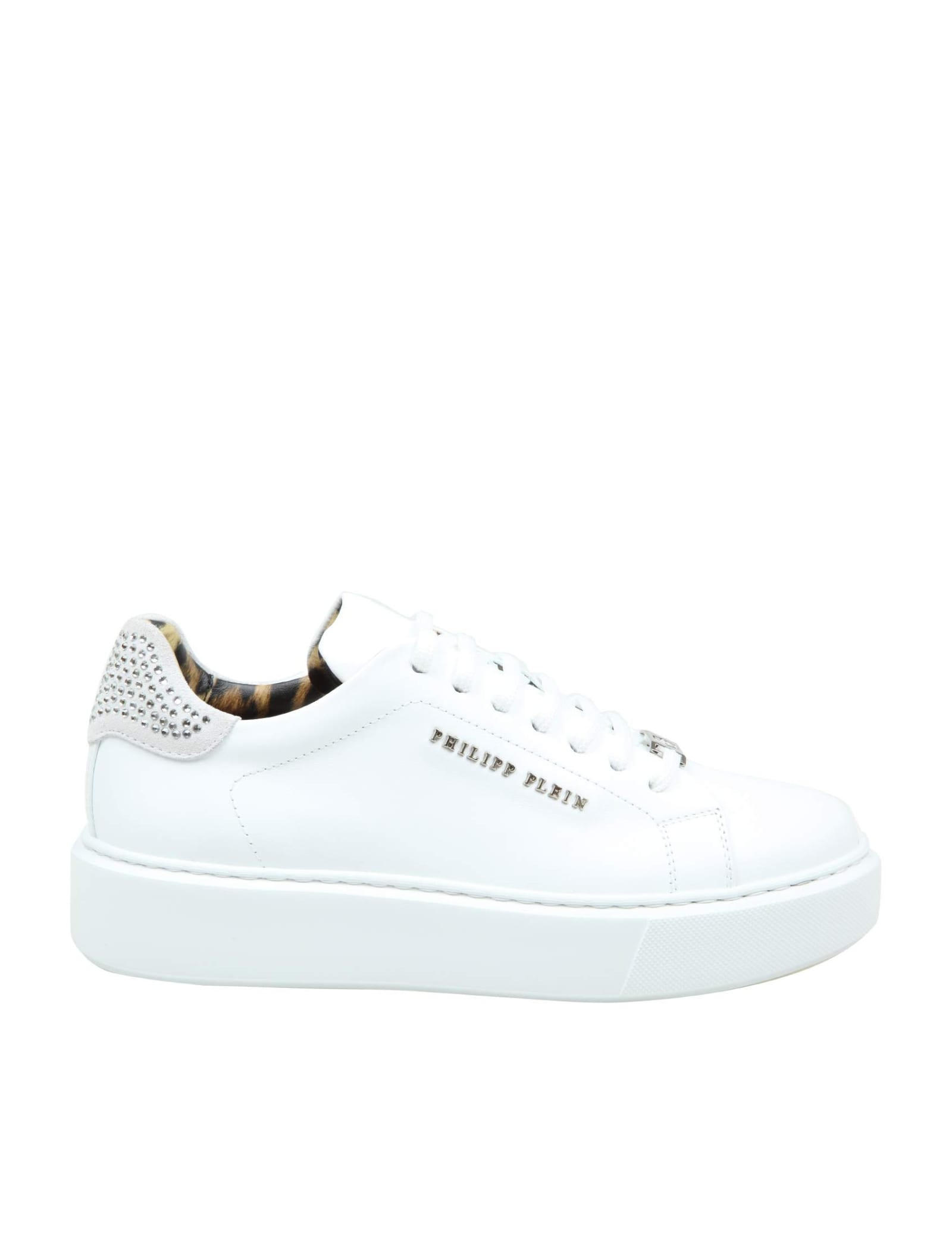 Philipp Plein SNEAKER LO-TOP IN LEATHER WITH CRYSTAL INSERTS
